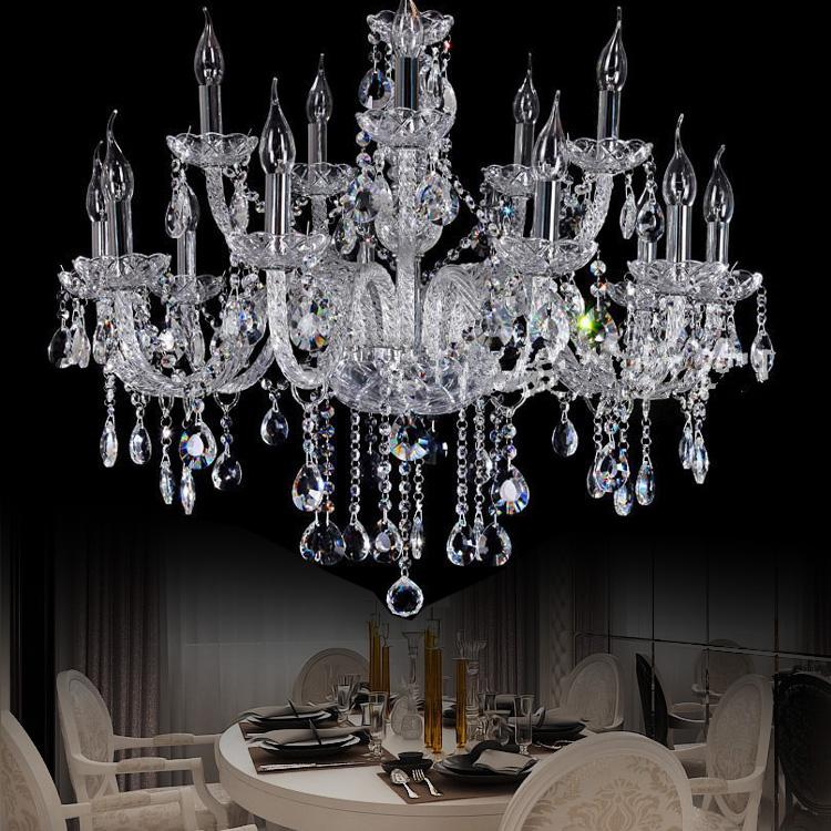 Star Hotel Clear Large Crystal Chandelier Penthouse Modern Big ...:Star Hotel Clear Large Crystal Chandelier Penthouse Modern Big Chandeliers  15 Lights Villa Hanging Lamp Parlor Candle Chandelier Candle Holder Crystal  ...,Lighting