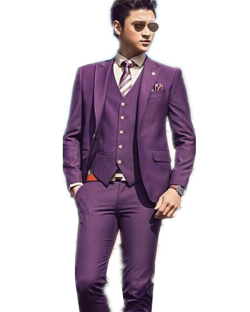 Handsome Man'S Suits Slim Fit Purple Groom Wedding Tuxedo Young ...