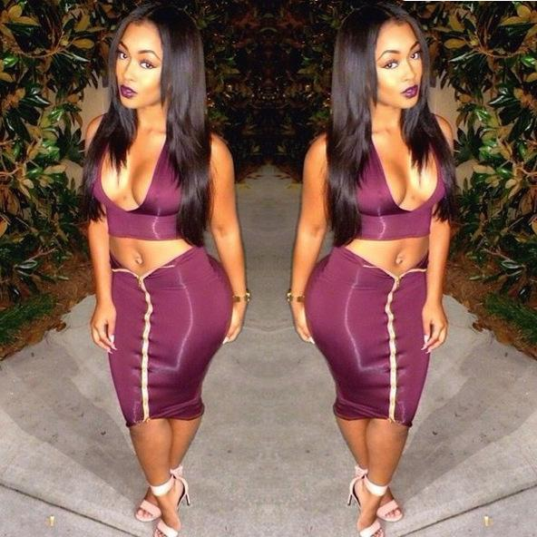 Stunning Two Pieces Women Night Club Dresses Hot Newest Deep V ...