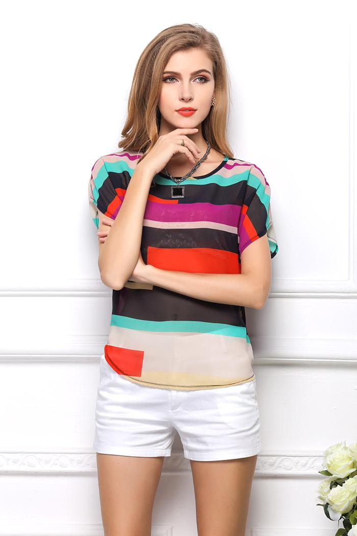 New Women tops en mousseline de soie Blouse Top multicolore rayé impression Chem