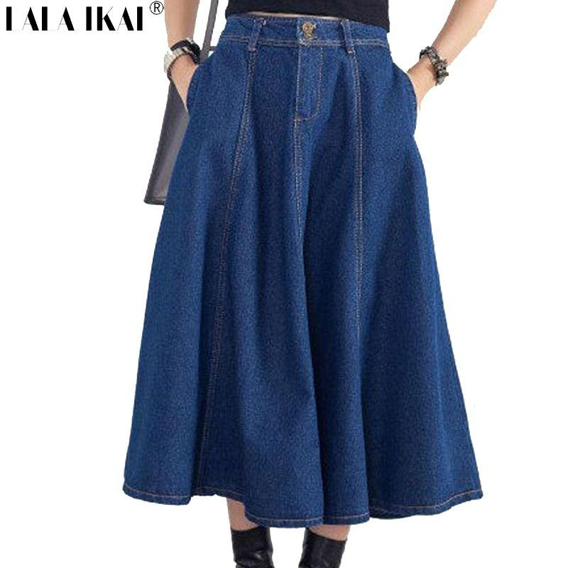2017 big swing denim midi skirts