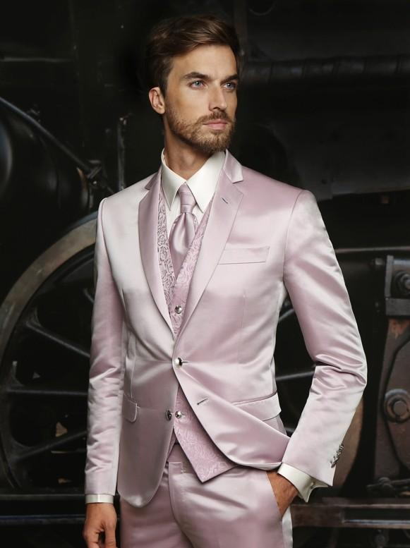 Pink Wedding Suits For Men Notched Lapel Grooms Tuxedos Three ...