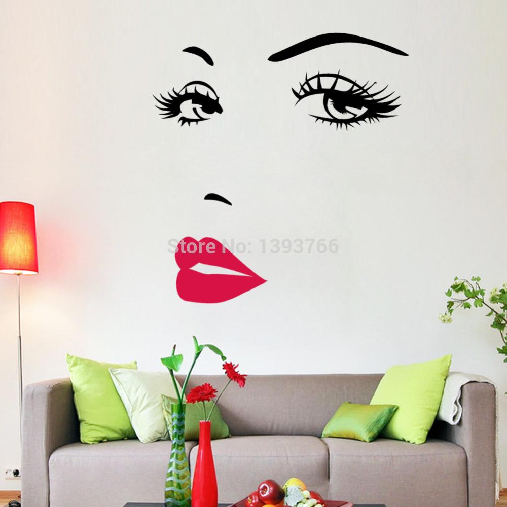 Wall stickers diy - Diy Beautiful Face Eyes And Lips Wall Art Sticker 8469 Painting Room Home Decoration Finished Size 70 57cm