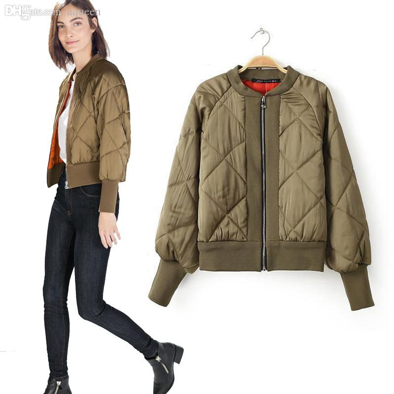 Wholesale-Spring Women Bomber Jacket Khaki Zipper Coats Black ...