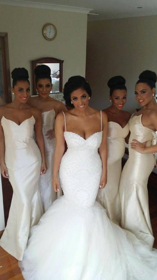 Nigerian mermaid maid of honor long bridesmaid dresses for Made of honor wedding dress