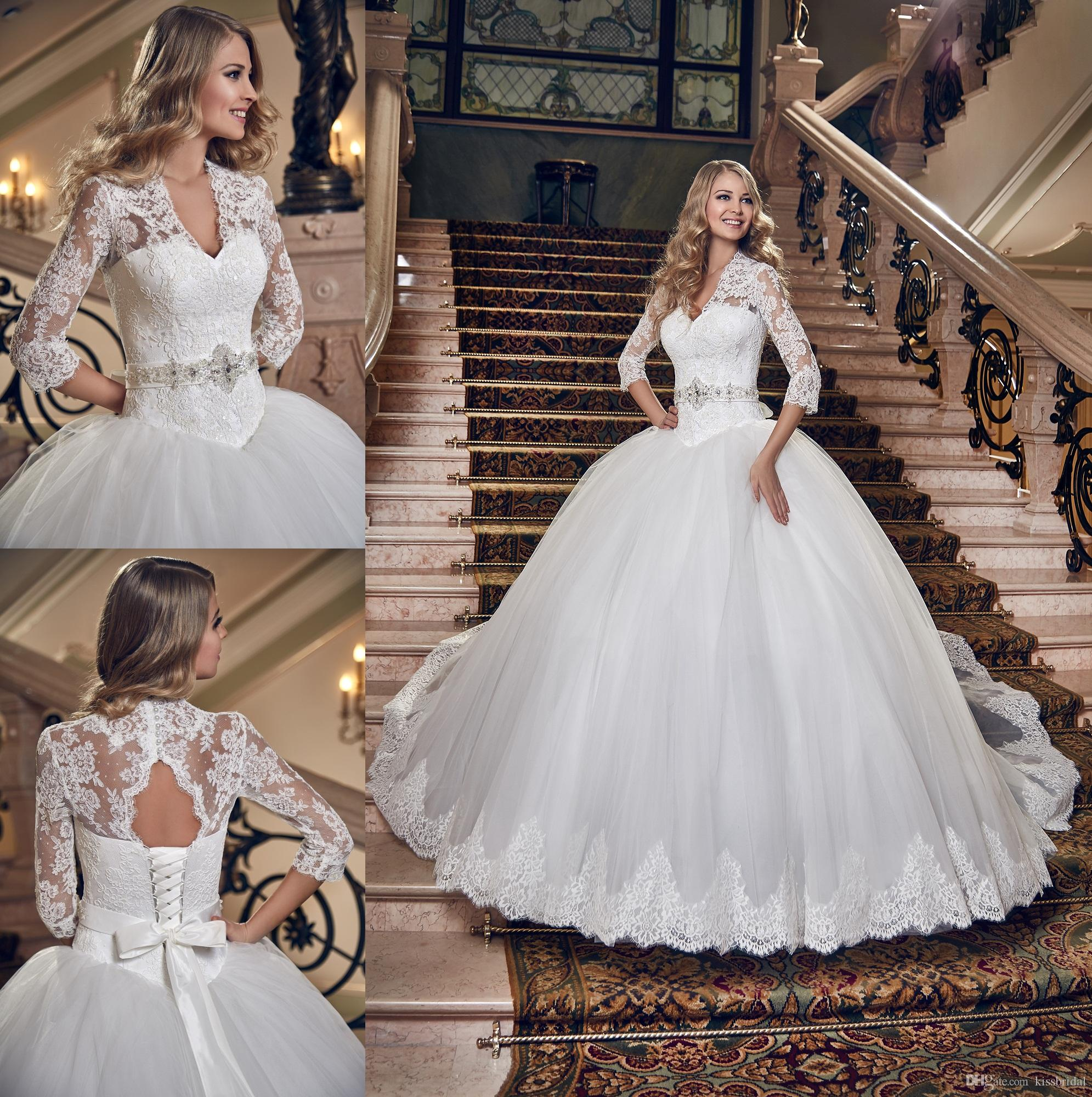 2015 Distinctive Lace 3 4 Long Sleeves Ball Gown Wedding