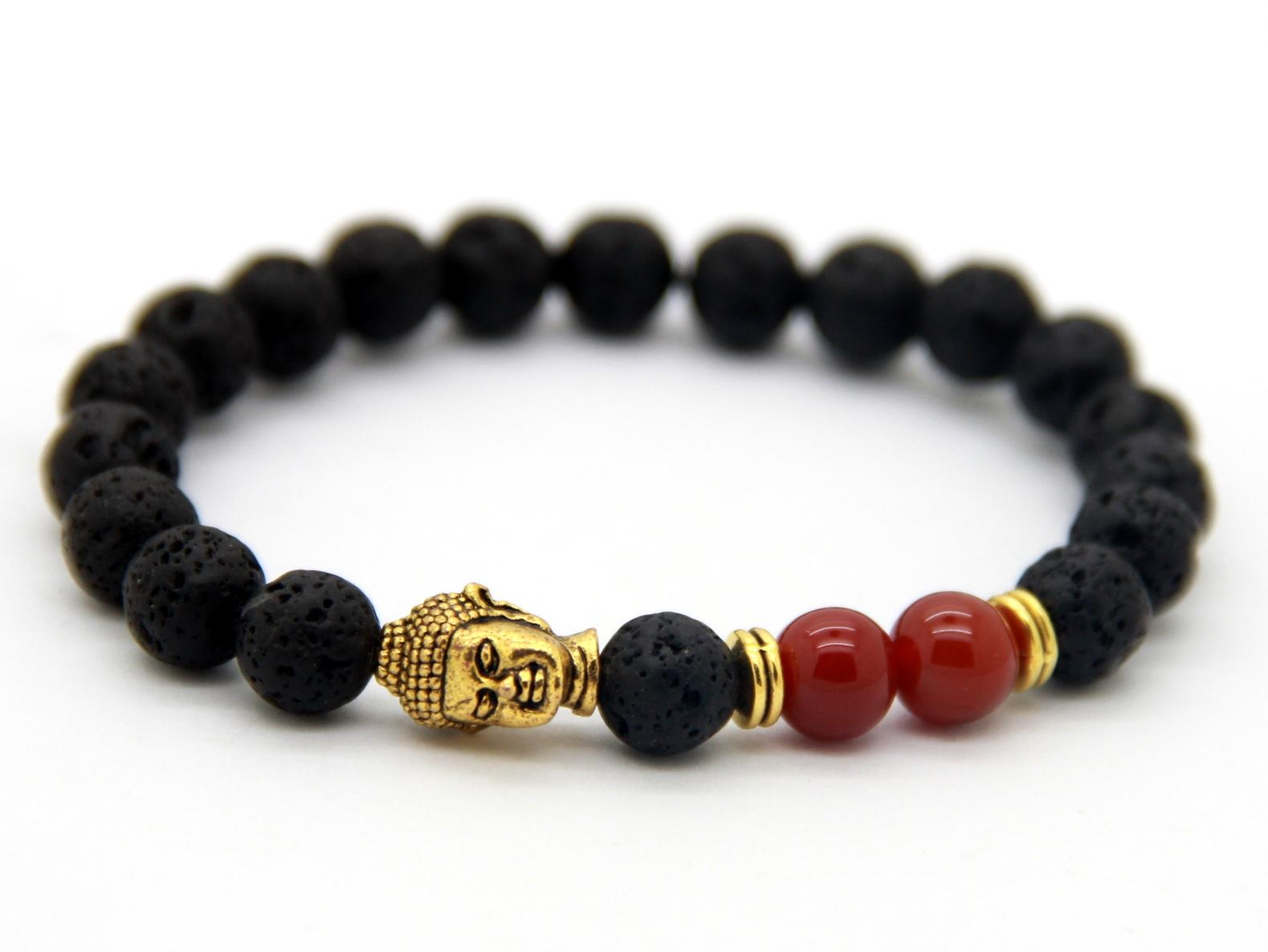 Hot Sale Jewelry Wholesale 8mm Lava Stone Beads Red Agate Beads With  Antique Gold Buddha Men's Bracelets Gift Men Bracelet Buddha Bracelet Lava  Stone