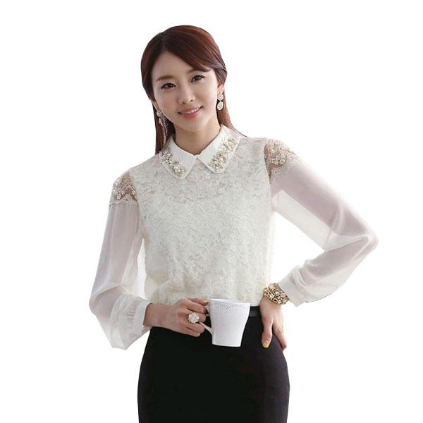 White Lace Blouse With Collar