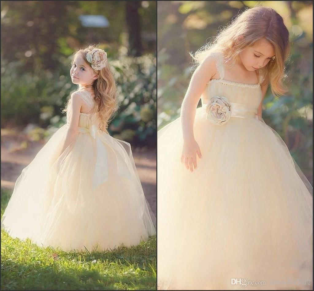 Blush Flower Girls Dresses A Line Strap Fashion Tulle Champagne Sash Flo