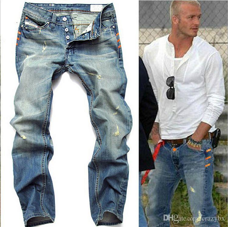 David Beckham Same Style 2016 Hot Sale Men 39 S Ripped Straight Jeans Low Rise Denim Pants Male