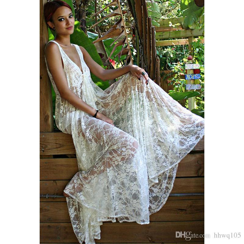 New Style Woman Lace Maxi Bohemian Dress V Neck Sleeveless Casual ...