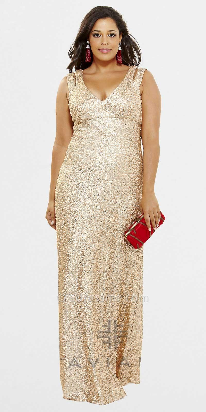 2016 Plus Size Formal Prom Evening Dress Sheer Gold Sequin