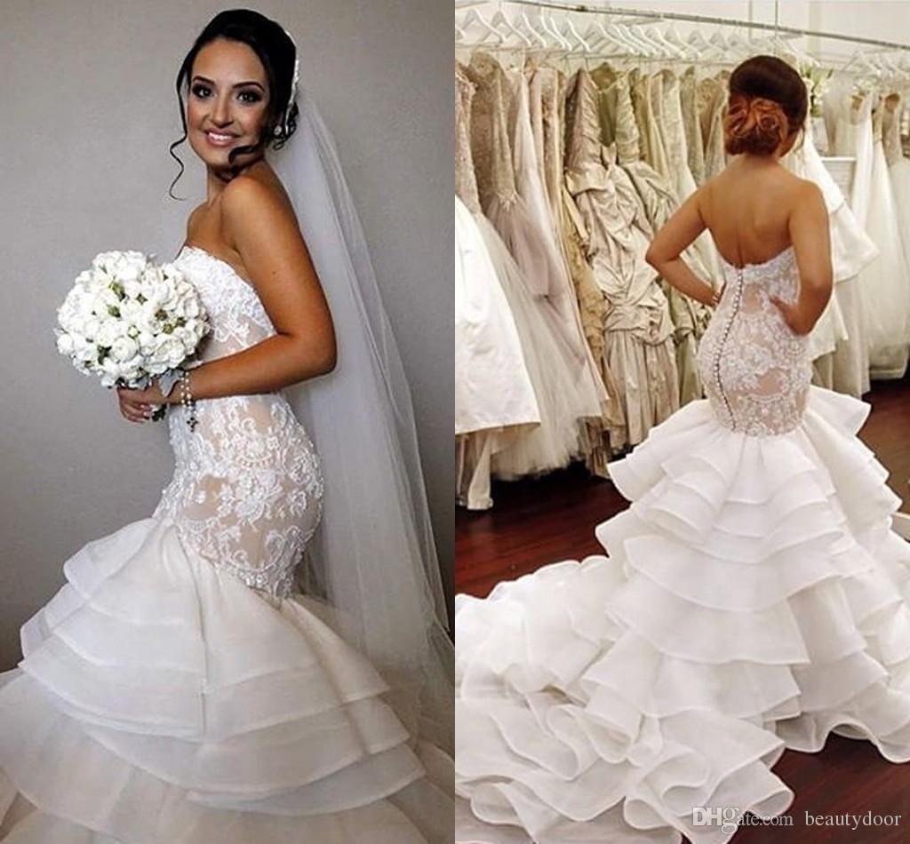 Pnina Tornai Wedding Dresses 2016 Lace Mermaid Appliques