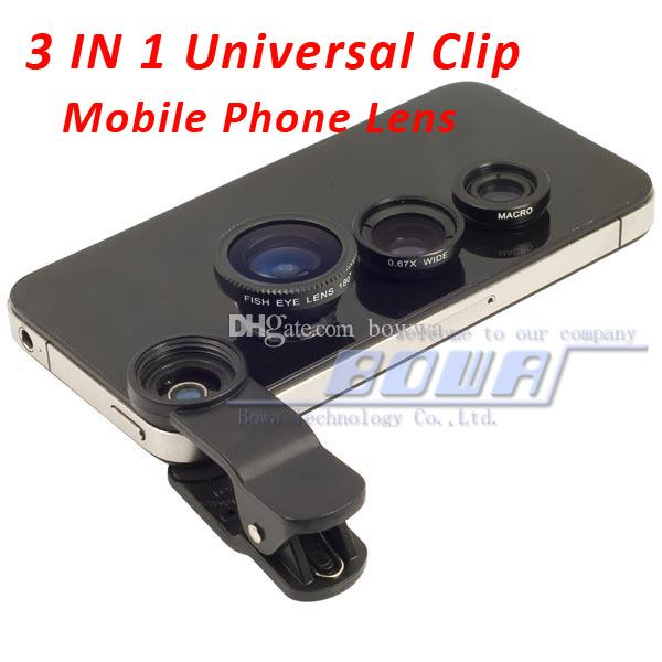 1 pc,Universal 3 in 1 Clip-On Fish Eye Lens + Wide Angle + Macro Lens for iphone 4 4S 5G 5S 5C iPhone 6 S3 i9300 S4 S5 Note all mobile phone