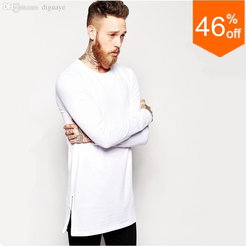 Wholesale mens longline tshirts long sleeve crew neck for Long sleeve tall t shirts wholesale