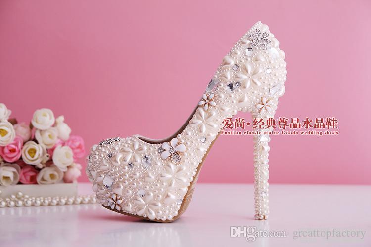 2015 жемчужного порошка свадебные туфли горный хрусталь свадебные туфли ультра высокие каблуки хрустальные башмачки невесты насосы