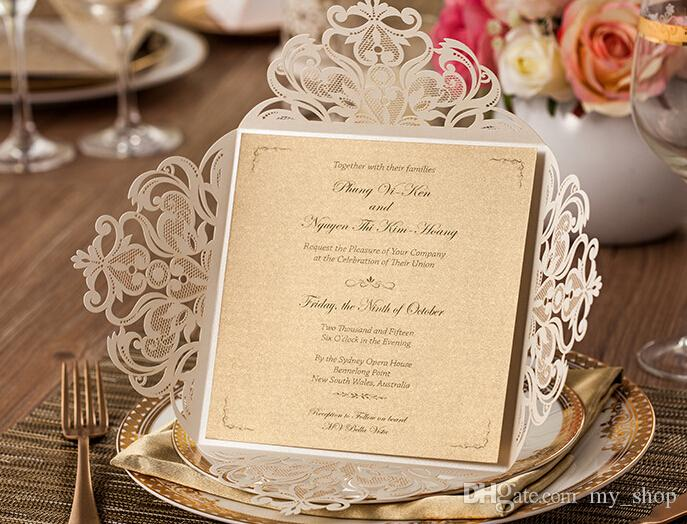 Laser Cut Wedding Invitations Cards Gold Paper Vintage Flowers Hollow Lace Wedding Party Favors