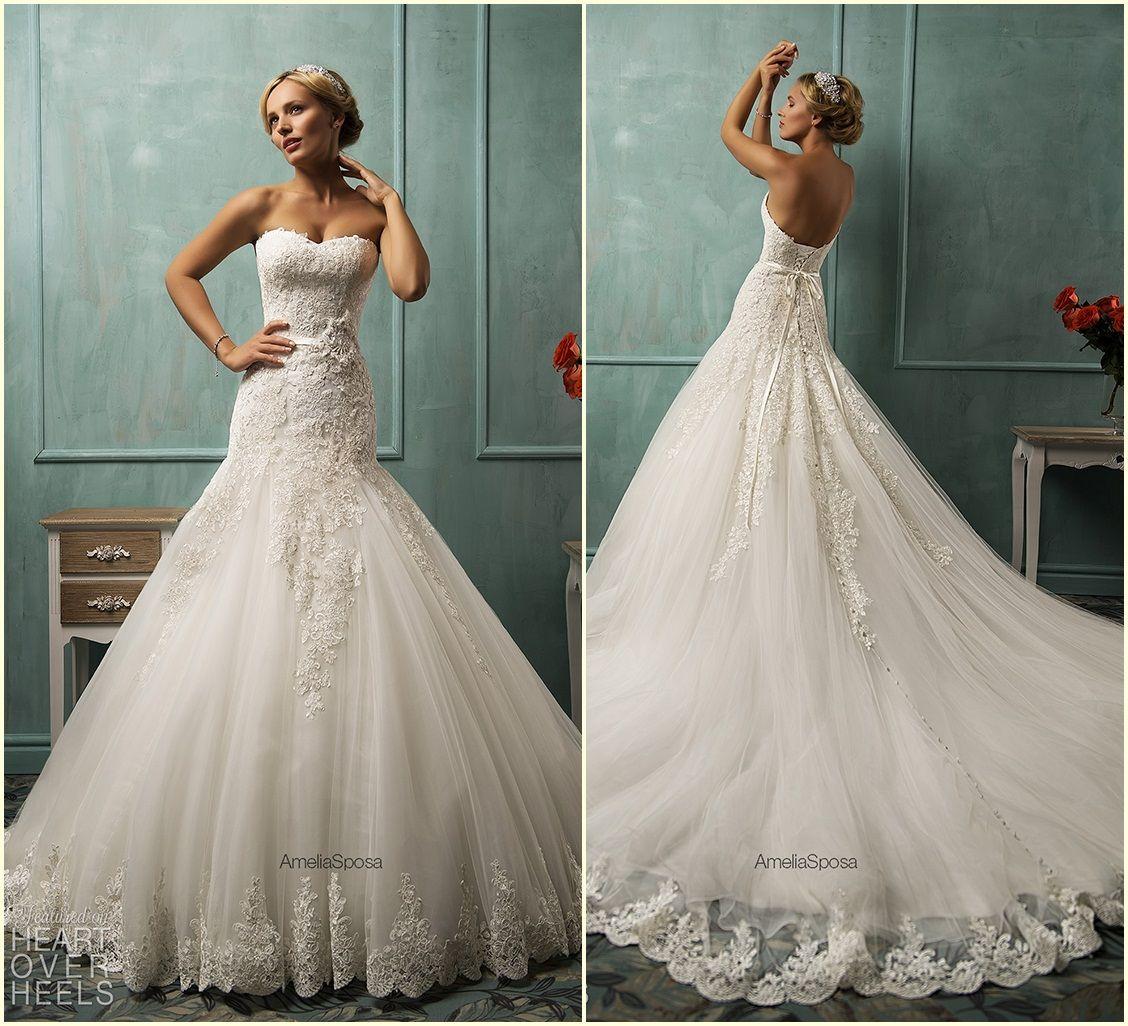 Vintage amelia sposa 2015 sheath lace wedding dresses with for Heart shaped wedding dress
