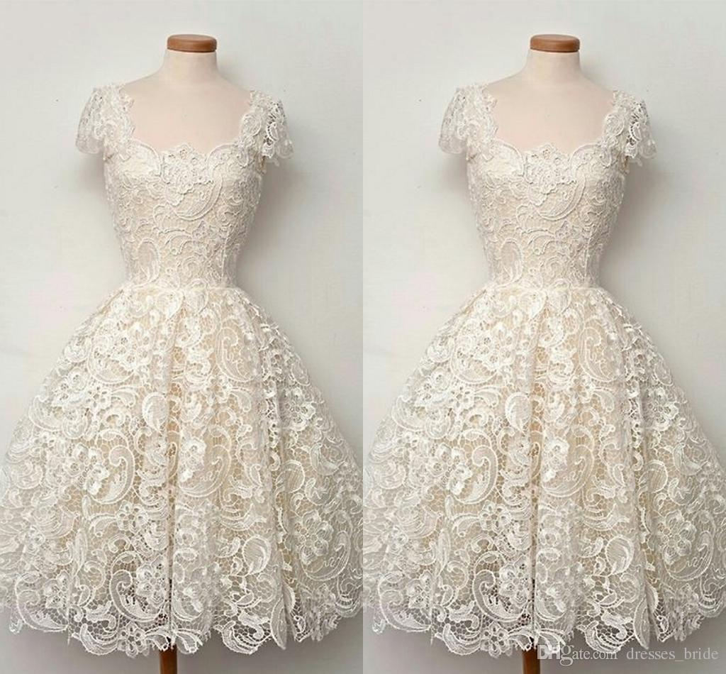 Beautiful Vintage Lace Homecoming Dresses Square Neck Off The ...
