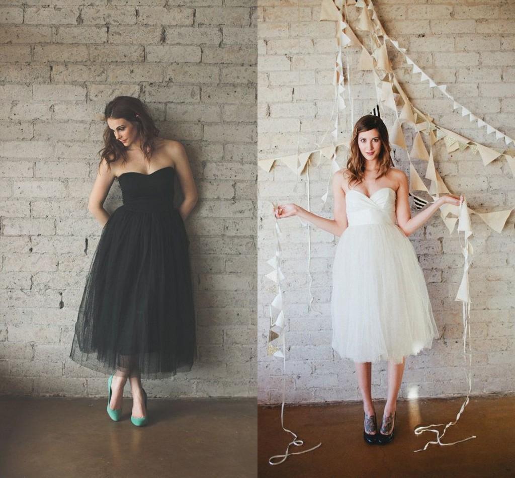 Black white tea length beach wedding dresses a line 2015 for Black and white beach wedding dresses