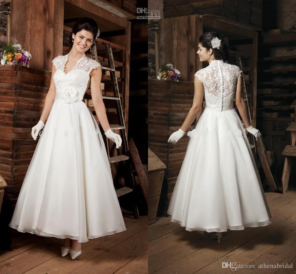 Elegant Lace Plus Size Wedding Dress V Neck Cap Sleeves