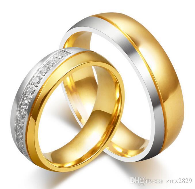 2016 new cz rings wedding rings men woman crystal rings diamond ring titanium lovers ring lovers - Wedding Ring For Men