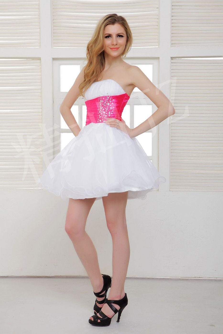 Beaded Homecoming Dress in Fuchsia And White Color Strapless Short ...