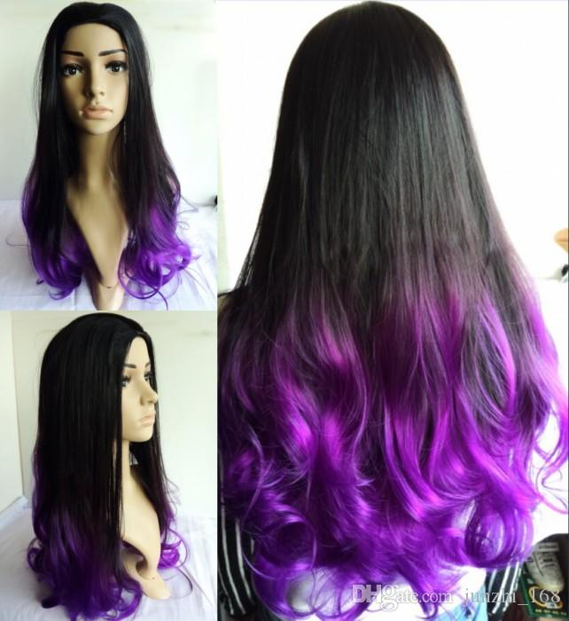 Brilliant Purple Synthetic Wig Curly Ombre Two Tone Natural Black Purple Short Hairstyles For Black Women Fulllsitofus