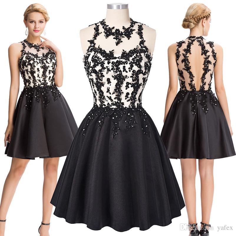 Grace Karin Chic Short Black Cocktail Dress Sexy Back Prom ...