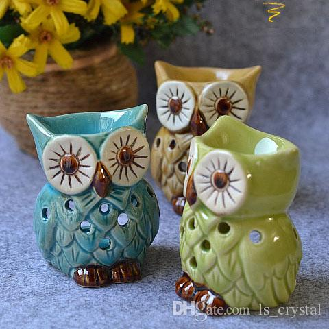 Lovely Mini Owl Aromatherapy Oil Burner Ceramic Home
