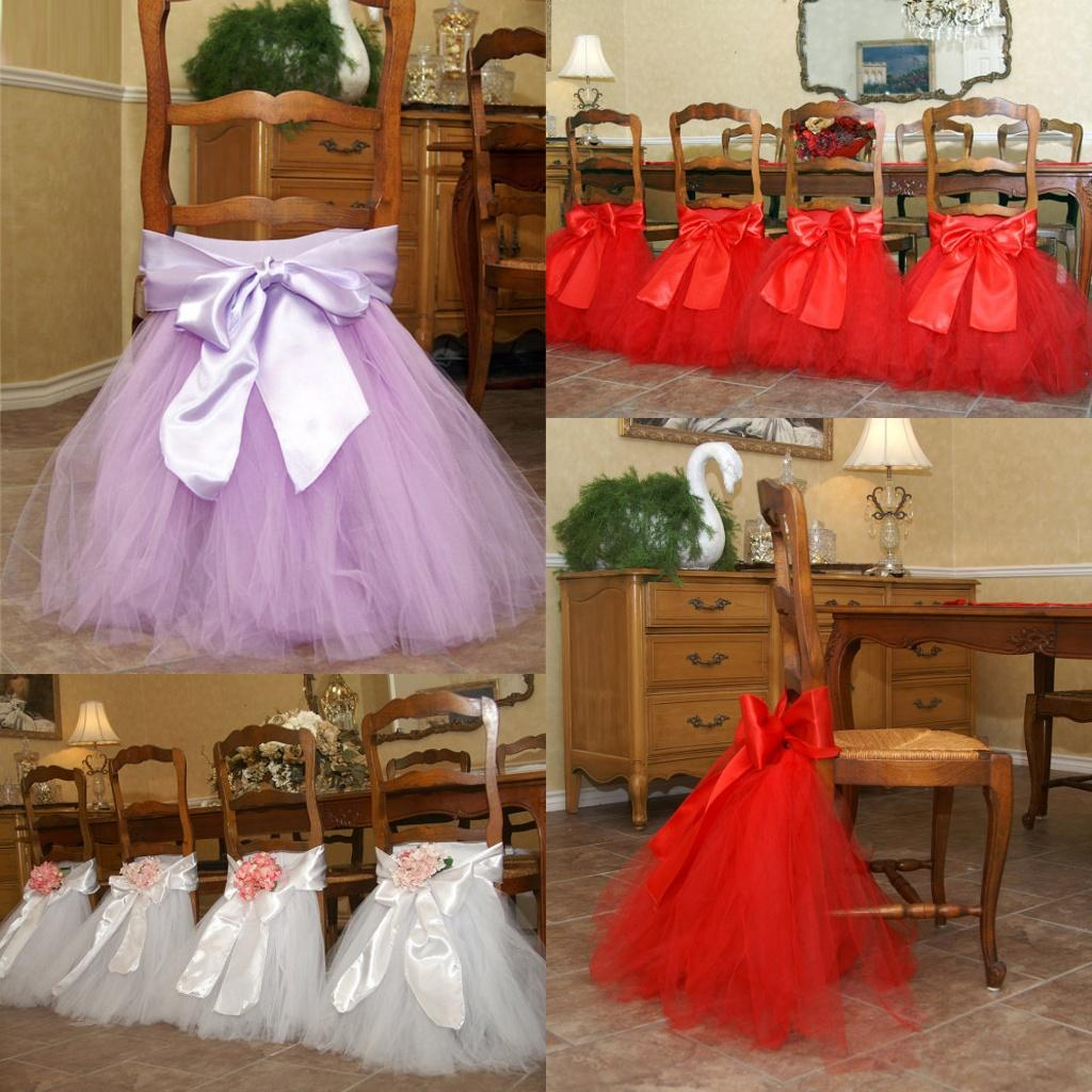 2015 Chair Sash For Weddings Satin Tulle Flower Delicate Wedding – Tulle Chair Bows