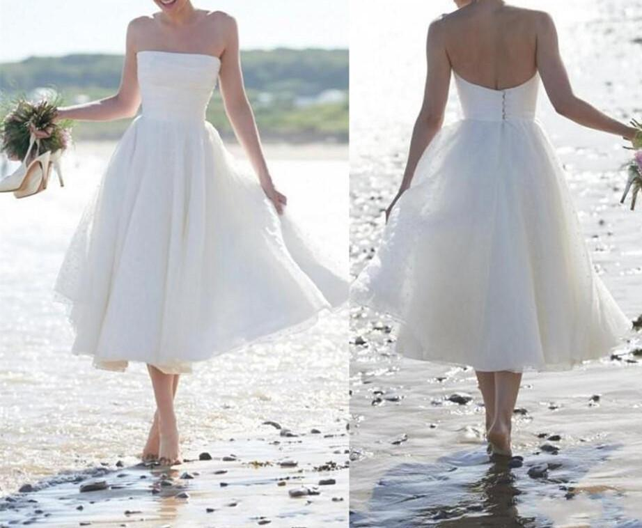 Simple Short Wedding Dresses For The Beach : Discount beach simple short wedding dresses a line strapless ruching