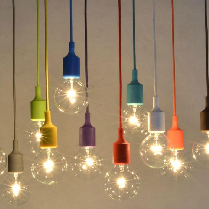 Colorido Colgante Luces E27 de Silicona soporte de la Lámpara ...