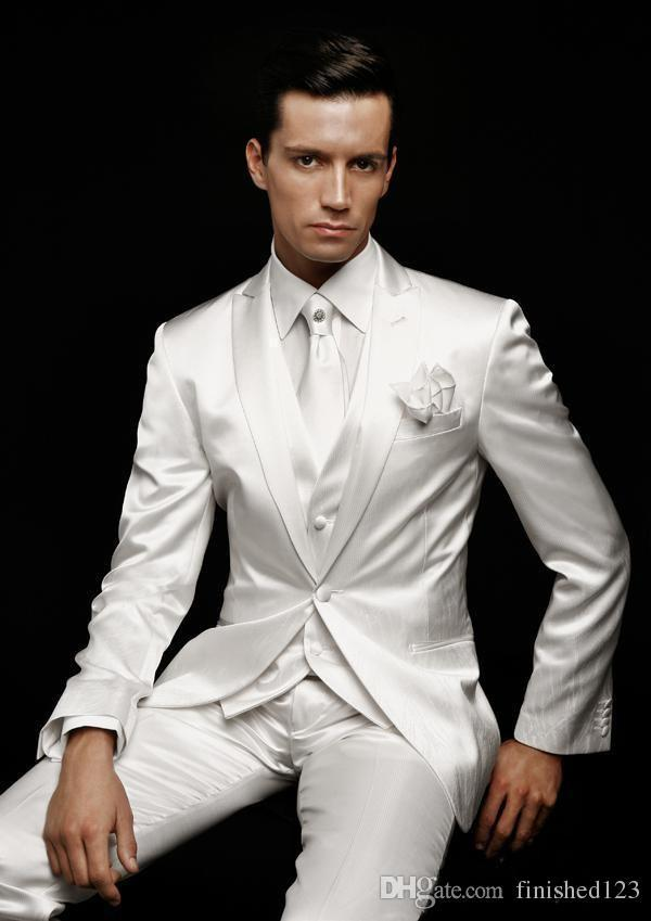 2016 Hot Sale One Button White Groom Tuxedos Peak Lapel Groomsmen ...
