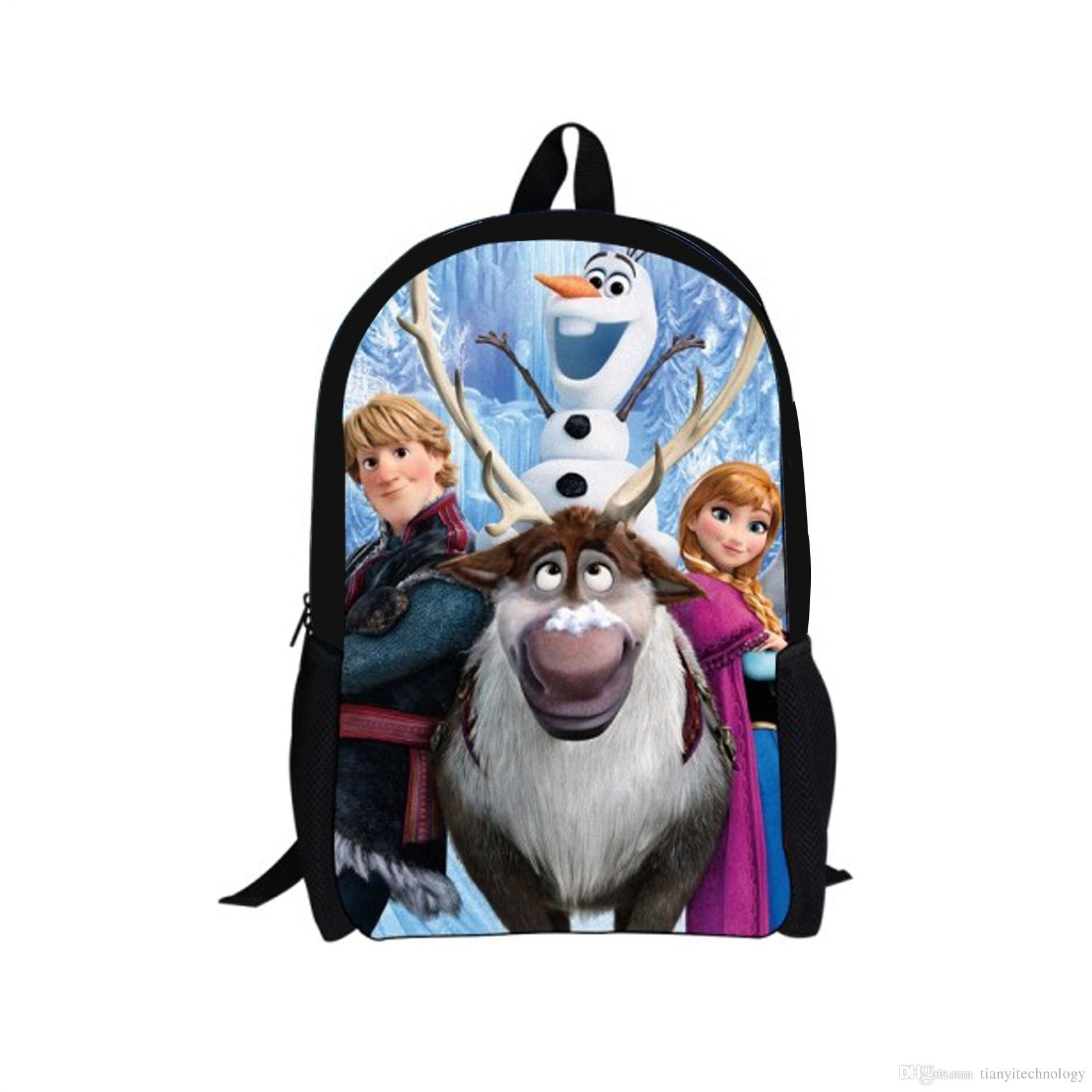 Frozen Cartoon School Bags Elsa Anna Olaf Family Theme Backpacks ...