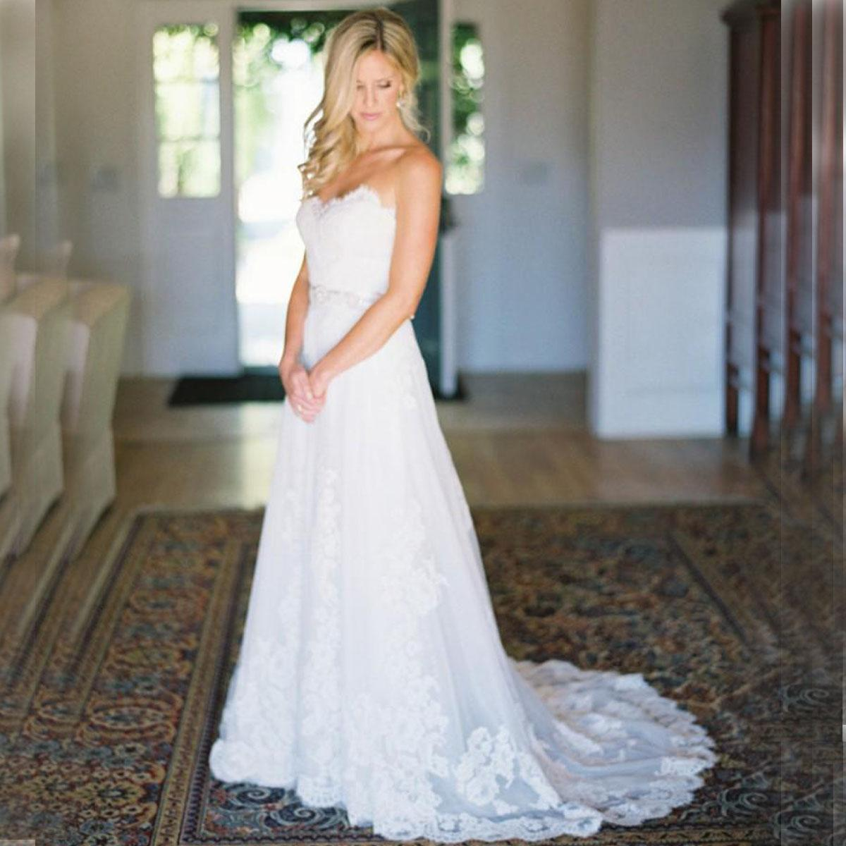 Discount Simple Modest Wedding Dress 2015 Sweetheart Low