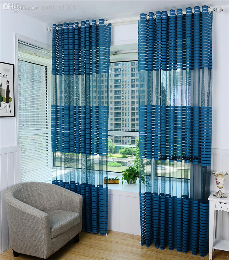 Modern summer style sheer curtains sky blue chiffon for M s living room curtains