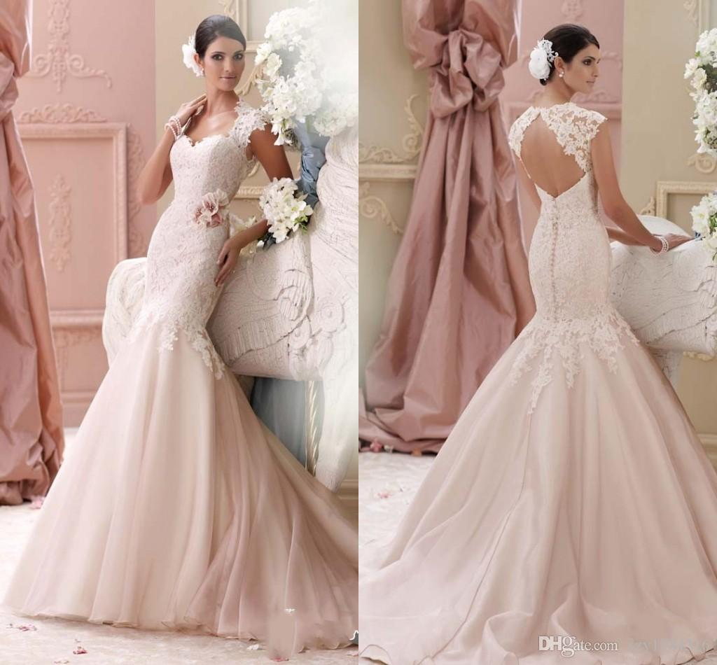 Charming Light Pink Wedding Dresses 2015 Sweetheart Swep