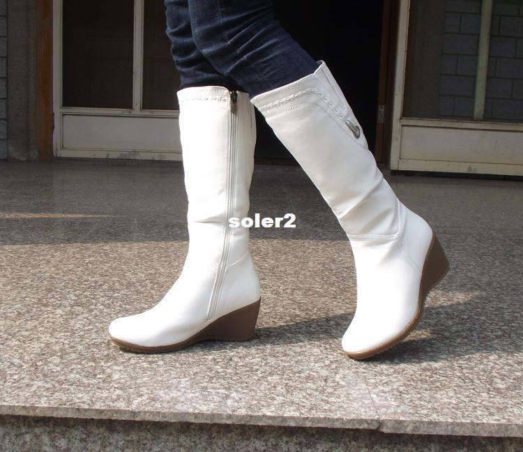 Fashion White Leather Knee High Boots Women Warm Winter Motorcycle ...