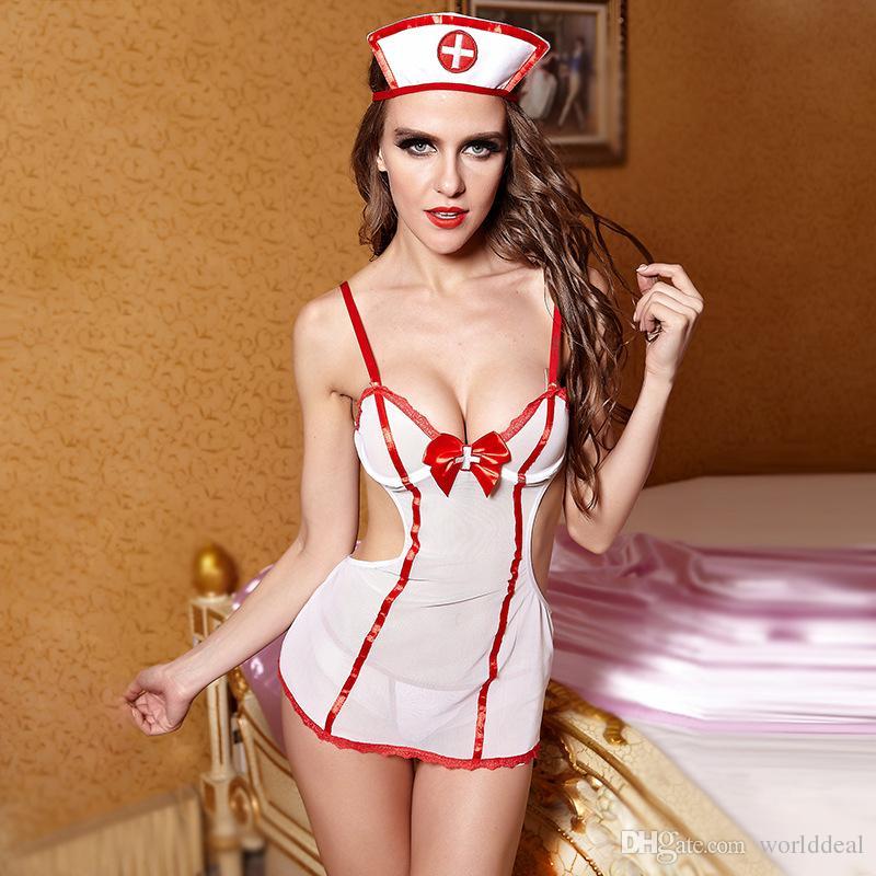 Sexy Nurse Cosplay Uniform Wear Backless Low Cut Design ...