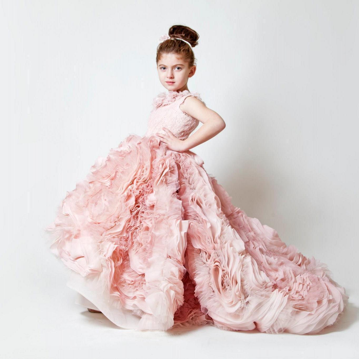 High Quality Girls Dress Pink Flower Designer Flower Girl Downs ...