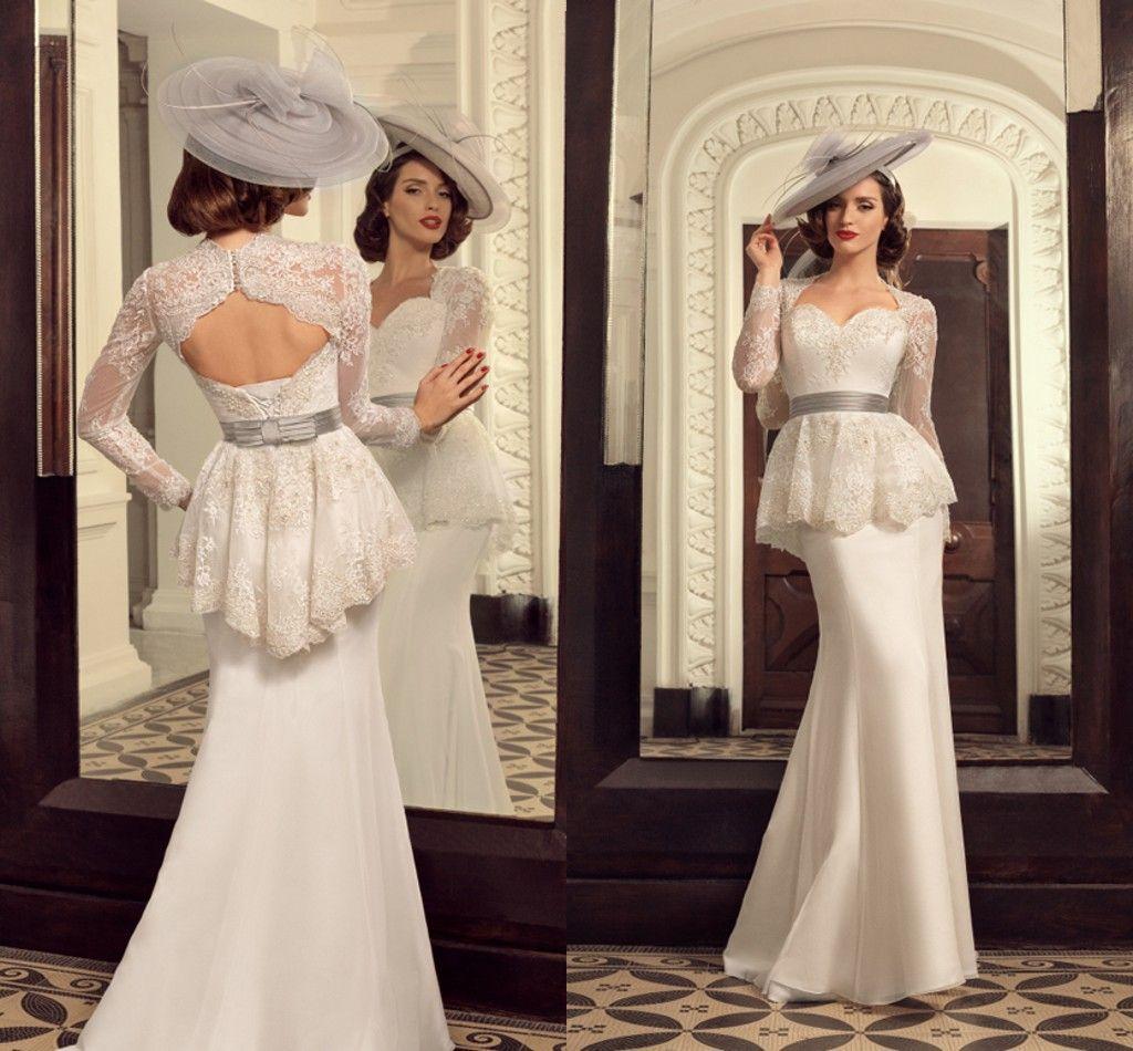 Mermaid Wedding Dresses With Long Sleeves Lace Jacket