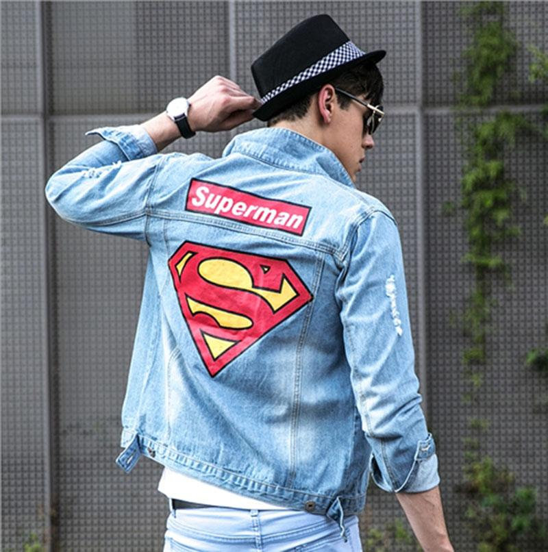 Men's Denim Jacket de haute qualité de la mode Jeans Vestes Slim fit occasionnel