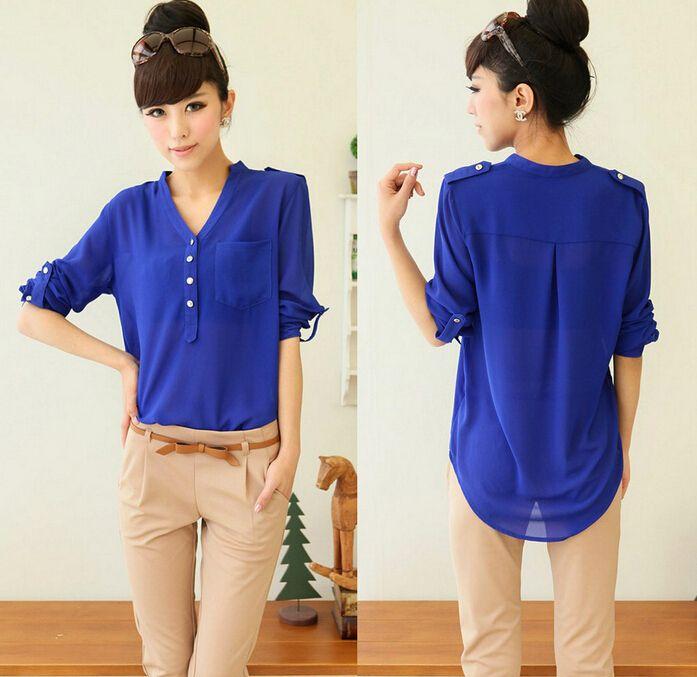 Pocket Shirt 2015 Chiffon Women Blouses Blusas Femininas Long ...