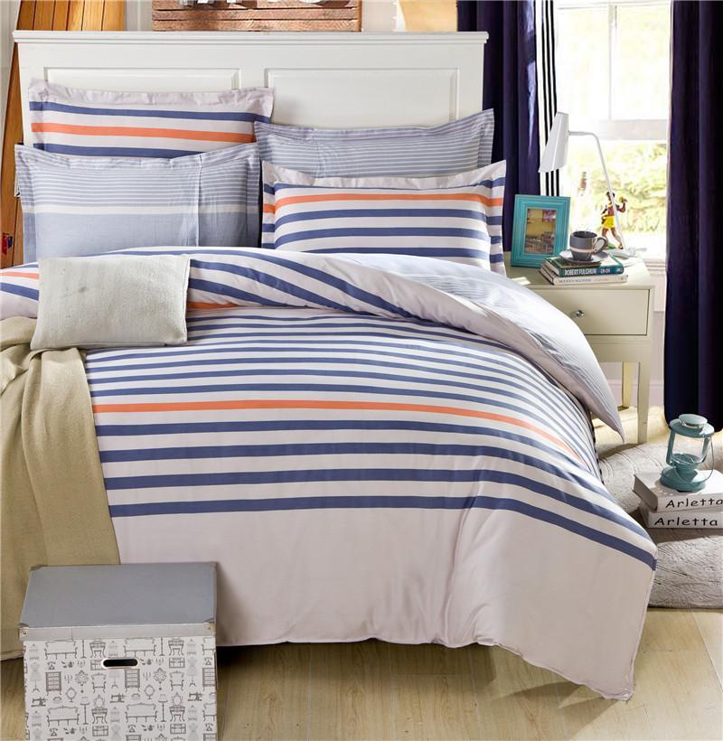 Mordern Blue & Orange Stripes Beige Bedding Set Uni