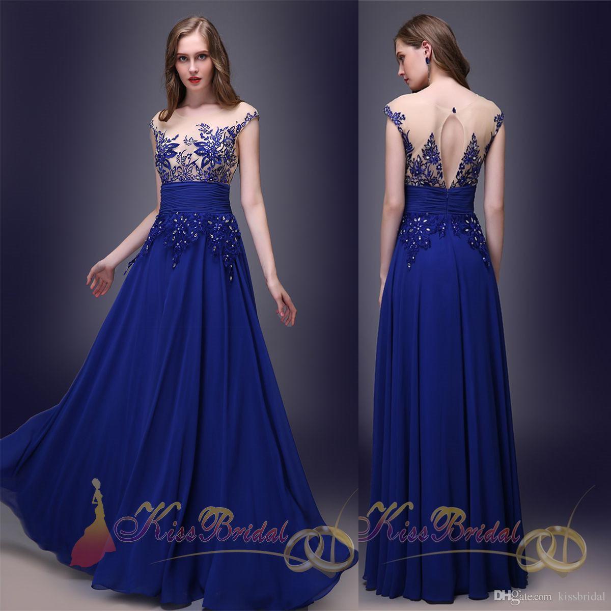 2014 Hot Sales Designer Evening Dresses Lace Appliqued Sheer Jewel ...