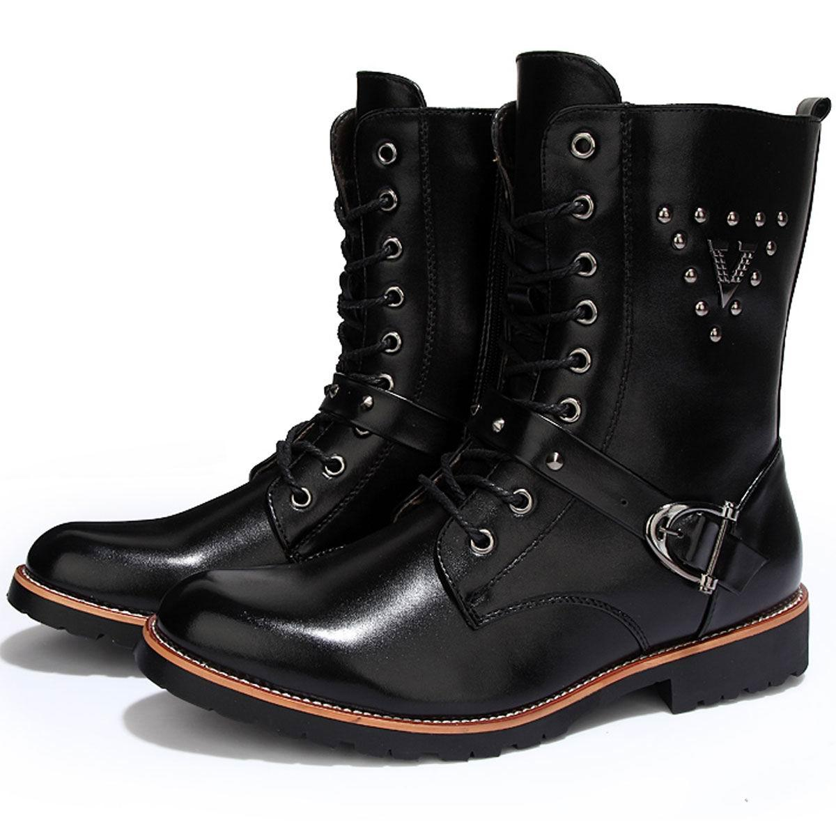 Cool Mens Quality Leather Motorcycle Ankle Boots Rivet Studded