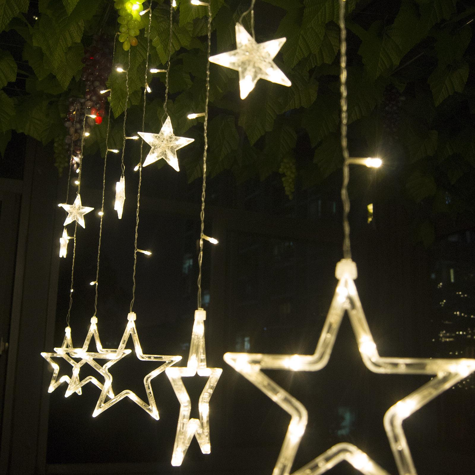 2.5M 168 LED Curtain Star String Christmas Lights Lighting for Xmas Wedding Birthday Romantic ...