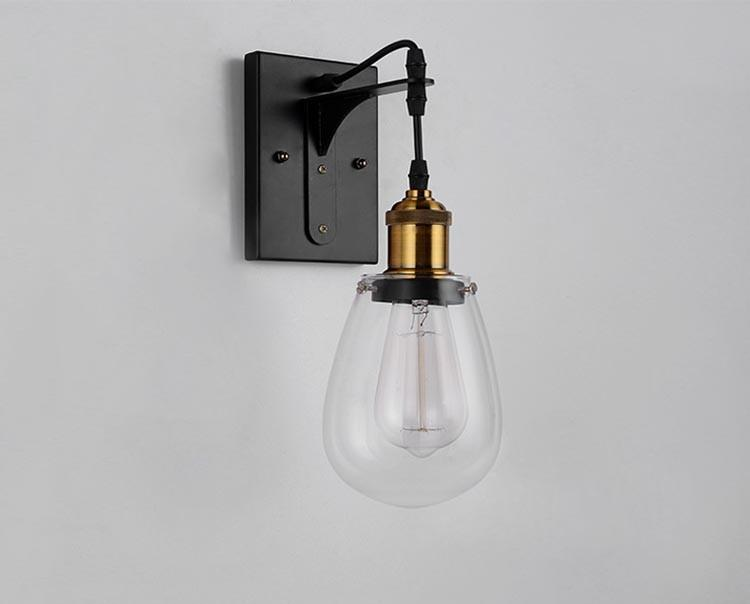 2018 Loft Vintage Industrial American Country Teardrop Glass Edison Wall Sconce Lamp Bathroom ...