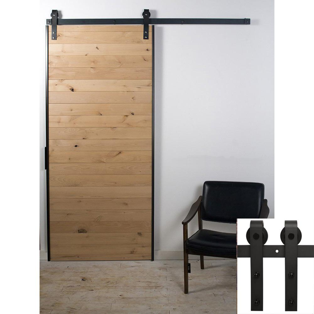 2017 antique black wooden single sliding barn closet door for Single sliding barn door